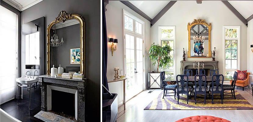 Baño y salón con espejos dorados