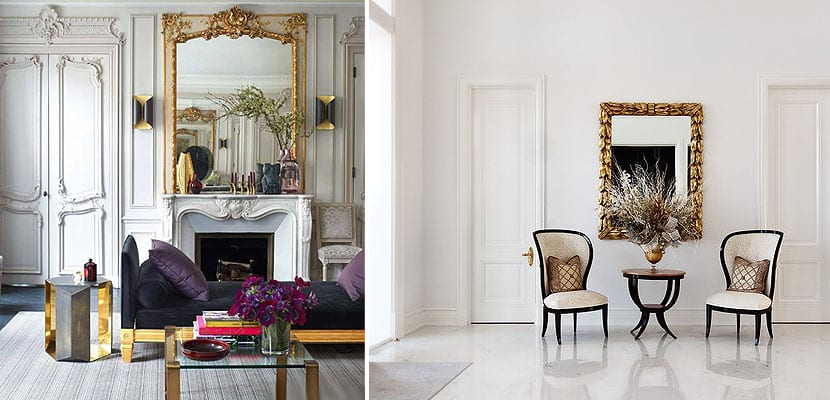 Espejos dorados de grandes dimensiones donde ponerlos Decoracion de salas con espejos en la pared