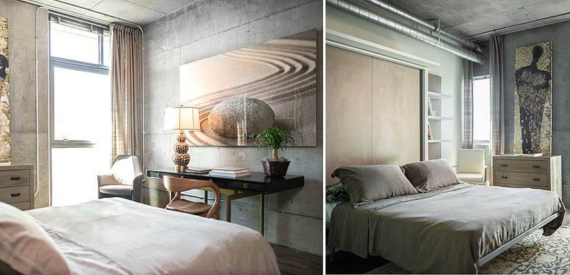 Dormitorios con techo de hormigón