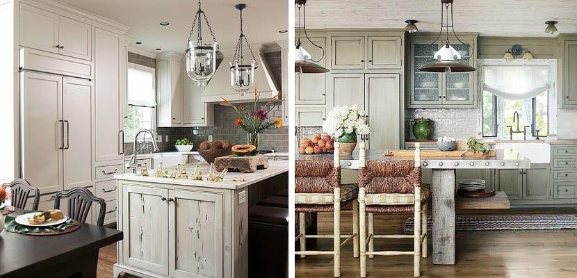 Cocinas con muebles envejecidos