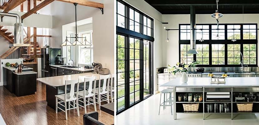 Cocinas de estilo industrial con techos desnudos for Muebles de cocina estilo industrial