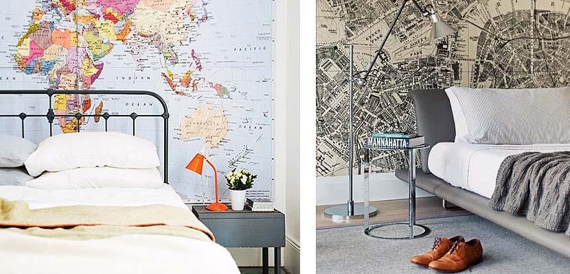Mapas en la pared principal del dormitorio