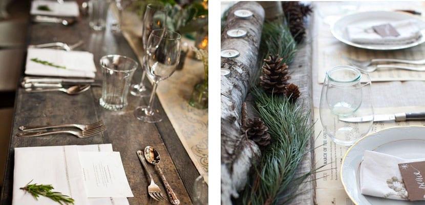Mesa rústica para Navidad