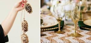 Detalles dorados y brillantes mesa