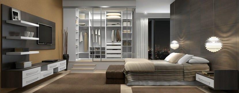 dormitorio gris y marron
