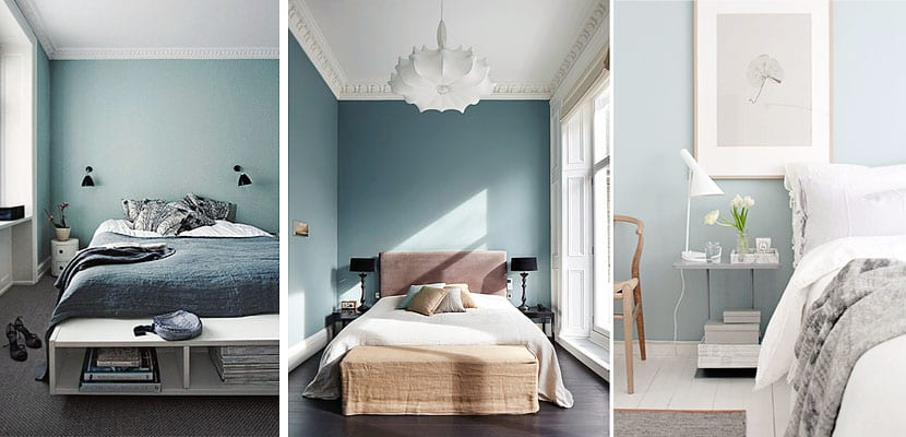Paredes azules en el dormitorio for Cuarto azul con gris
