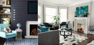 Salones en gris y azul