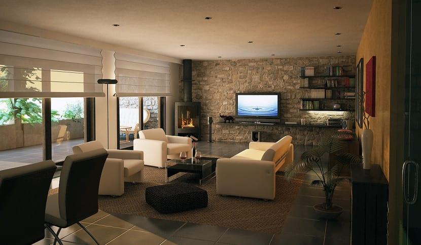El estilo r stico en un piso urbano for Visillos para salon rustico