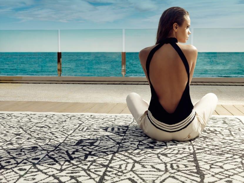 alfombra geometrica terraza