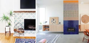 Chimenea con azulejos de colores