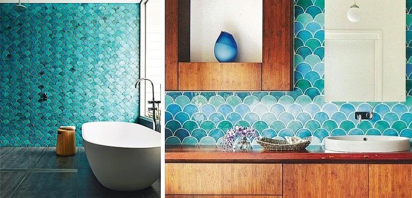 Azulejos tirquesa para decorar el cuarto de ba o for Azulejos para cuartos de bano modernos