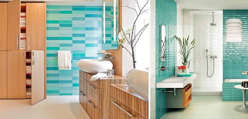 Cuartos de baño con azulejos turquesa