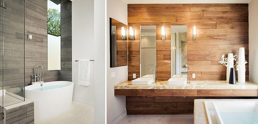 Cuartos de ba o con paredes de madera - Revestimiento banos modernos ...