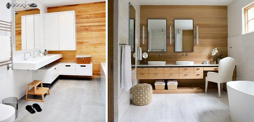 de baño con paredes de madera