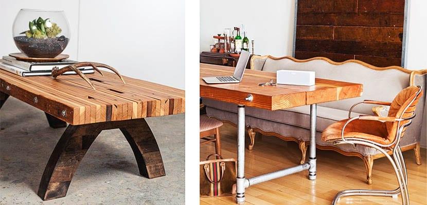 Mesas con tablones de madera