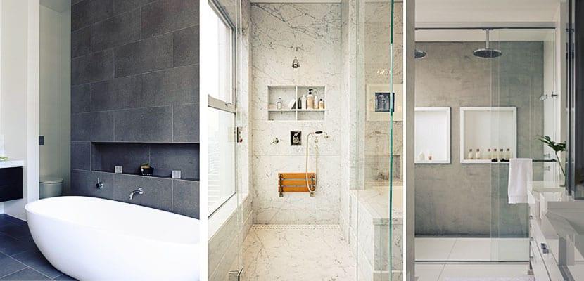 Nichos de obra muy pr cticos en el cuarto de ba o - Estantes para interior ducha ...