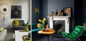 Salones decorados en tonos grises y verdes