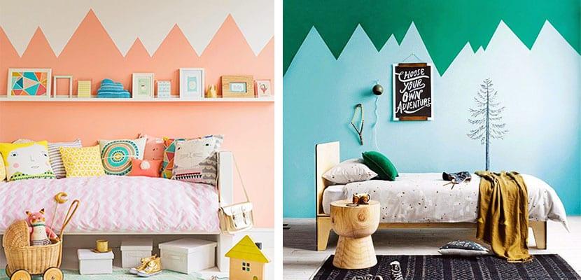 Montañas en la pared-habitaciones infantiles