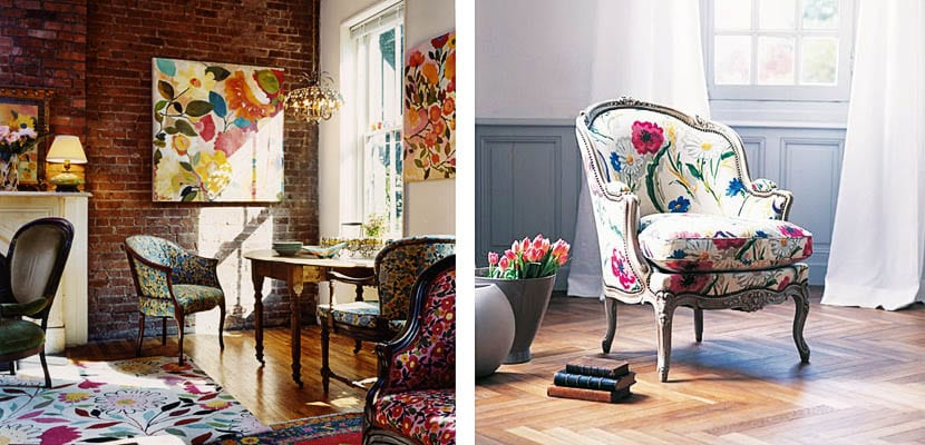 Sillas de flores, ambientes vintage