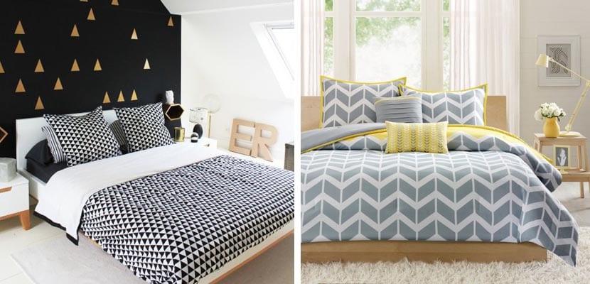 Textiles de cama geométricos