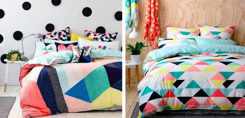 Textiles de cama con estampado geométrico
