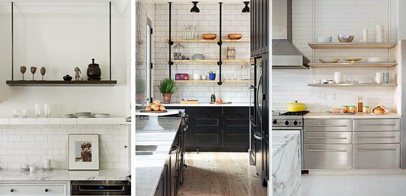 Estantes suspendidos del techo en la cocina - Estanterias para la cocina ...