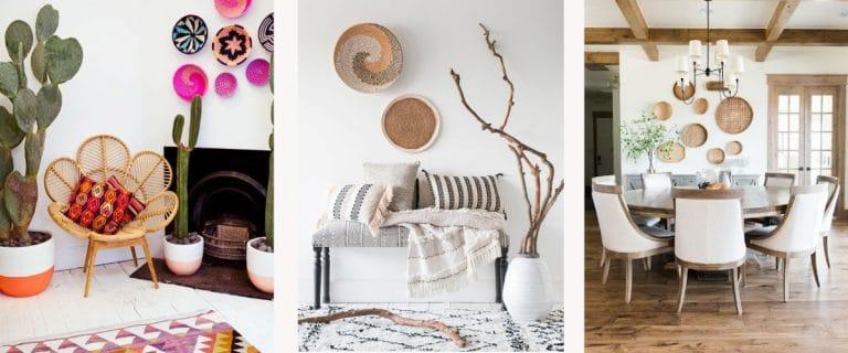 Las cestas son ideales para decorar paredes