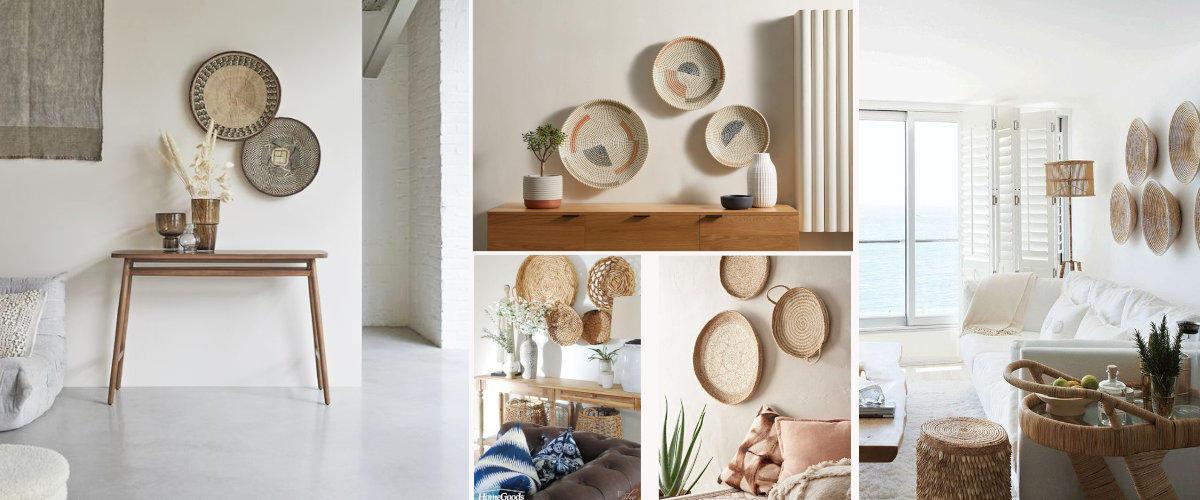 Las cestas pueden usarse para embellecer una pared