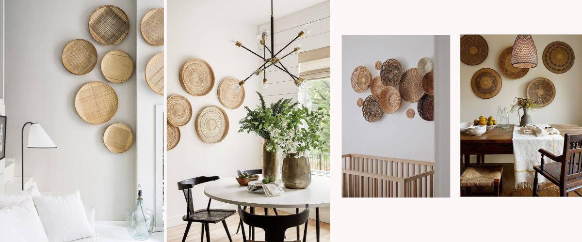 Las cestas étnicas pueden combinarse para decorar la pared