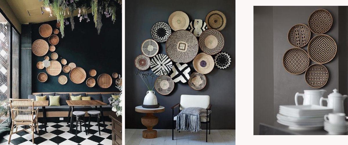 Las cestas con diseños étnicos son muy decorativas