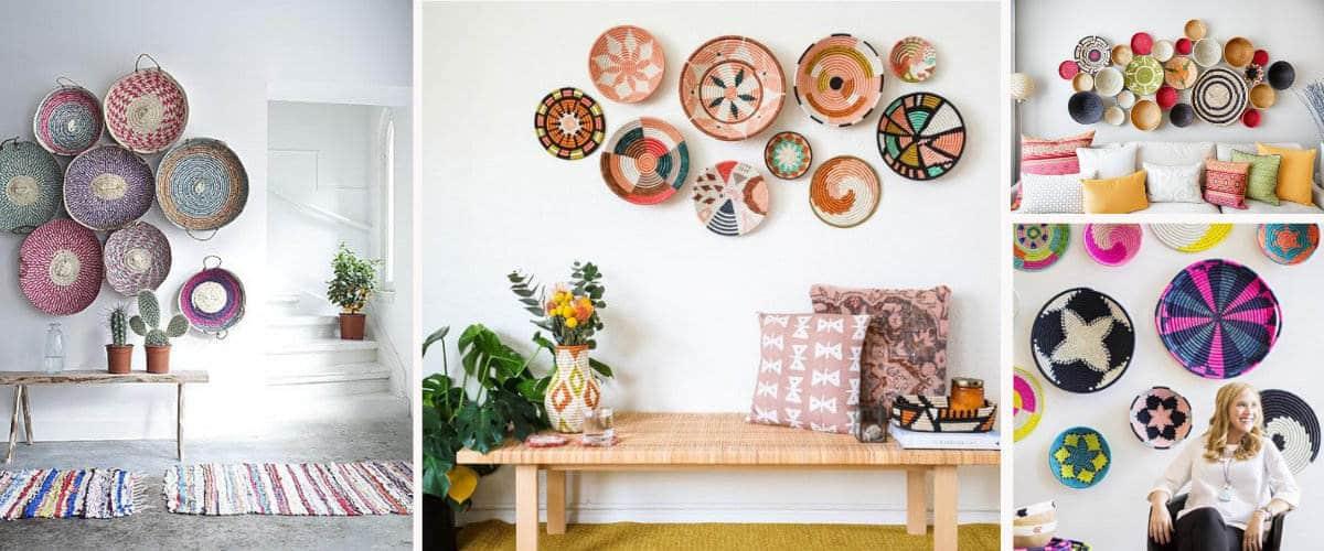 Puedes poner cestas para decorar la pared