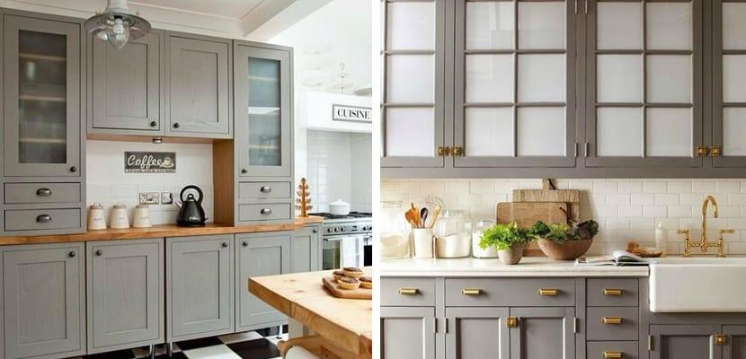 Cocinas grises en varios estilos for Muebles pintados en blanco y gris