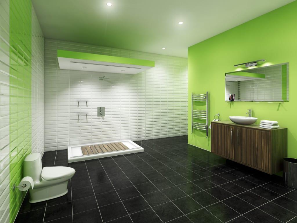 color moderno bano verde