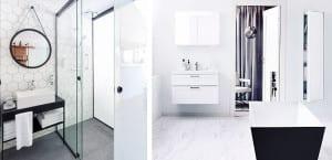 Cuartos de baño en blanco y negro