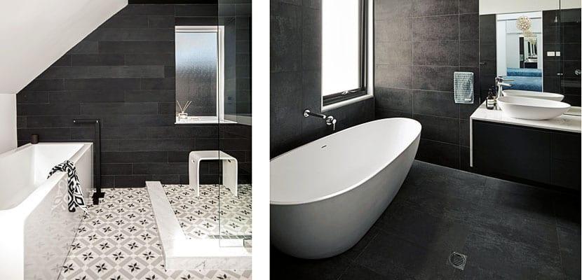Baños contesmporáneos en blanco y negro