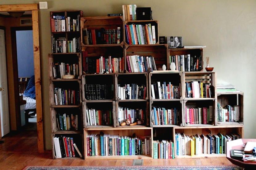 cajas de madera biblio