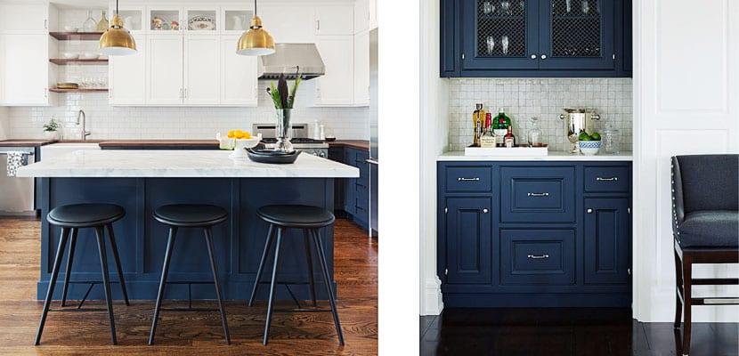 Cocinas contempor neas con muebles color azul - Cocinas azules y blancas ...