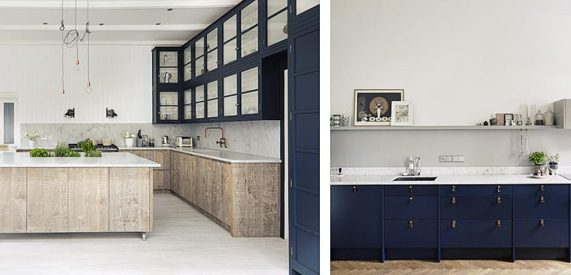 Cocinas contemporáneas con muebles color azul