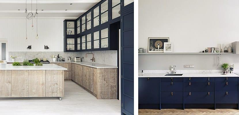Cocina contemporánea azul