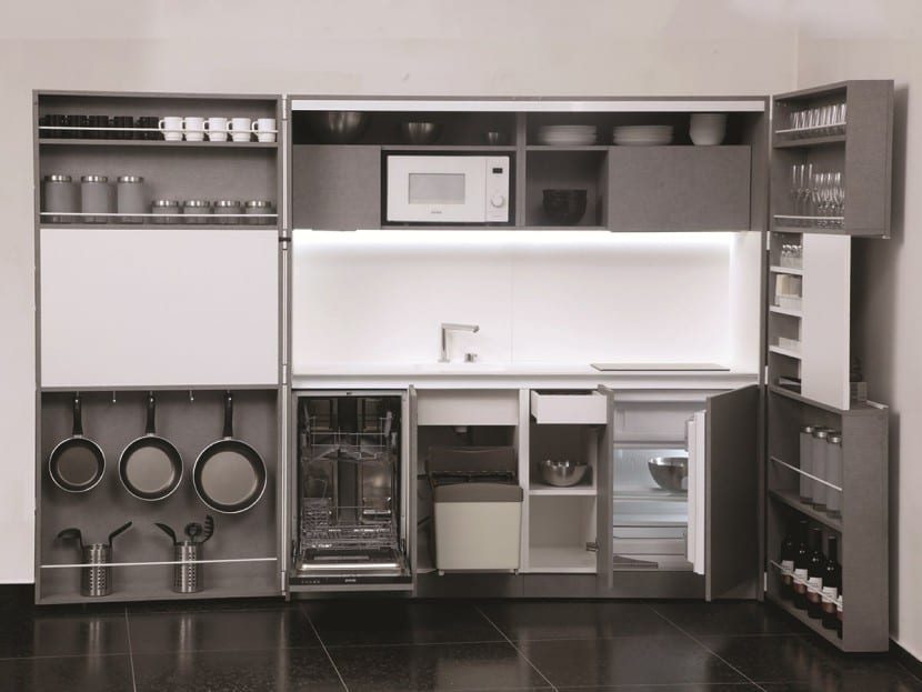 cocina plegable abierta