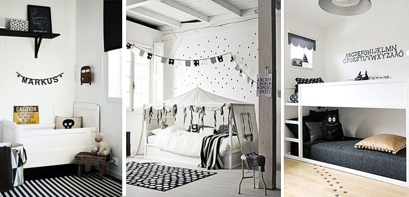 Habitaciones infantiles en blanco y negro for 6 cuartos decorados con estilo