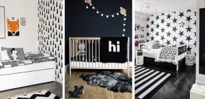 Dormitorios infantiles blanco y negro