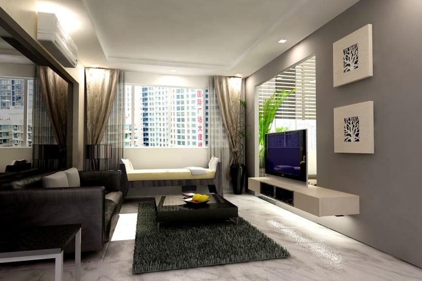 sala de estar pequena elegante