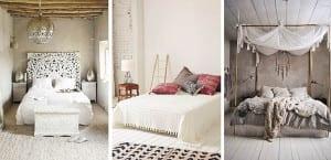 Dormitorio neutro bohemio
