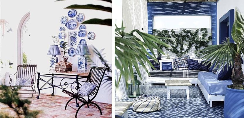 Espacios exteriores en blanco y azul