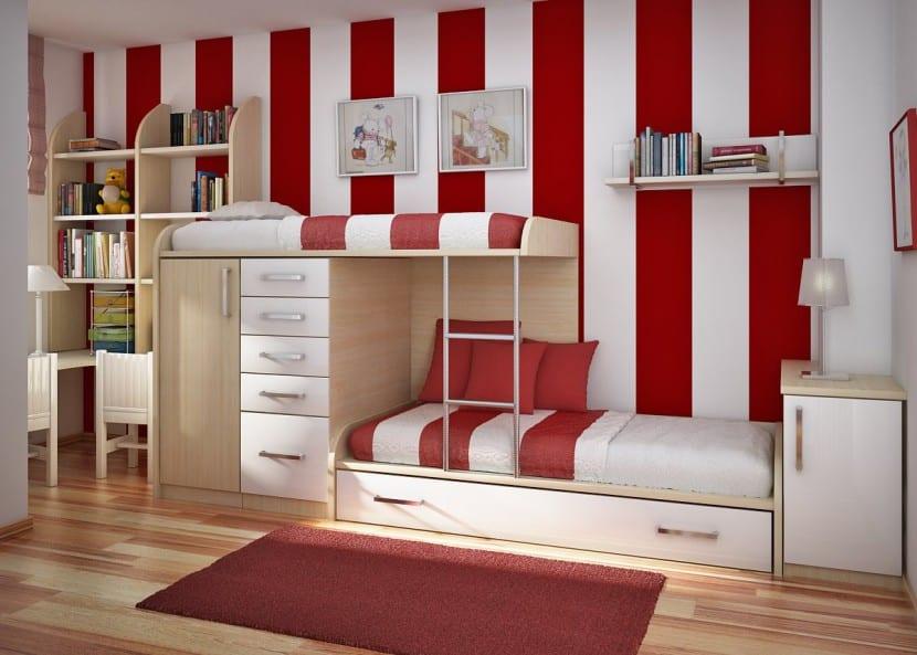 dormitorio infantil rojo y blanco
