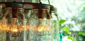 Lámparas con tarros de cristal