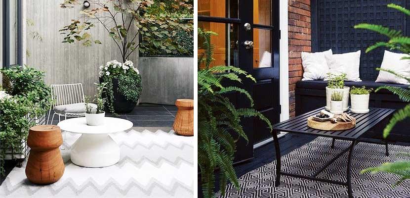 Alfombras decorando espacios exteriores