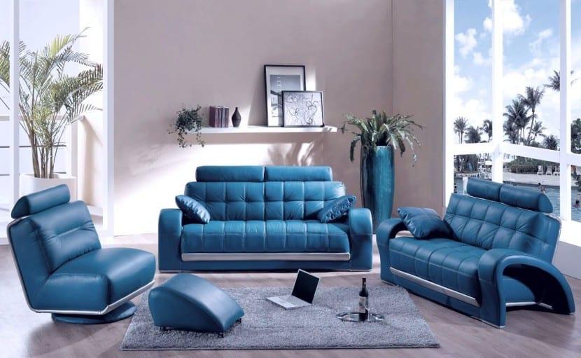 decoración moderna con el color azul
