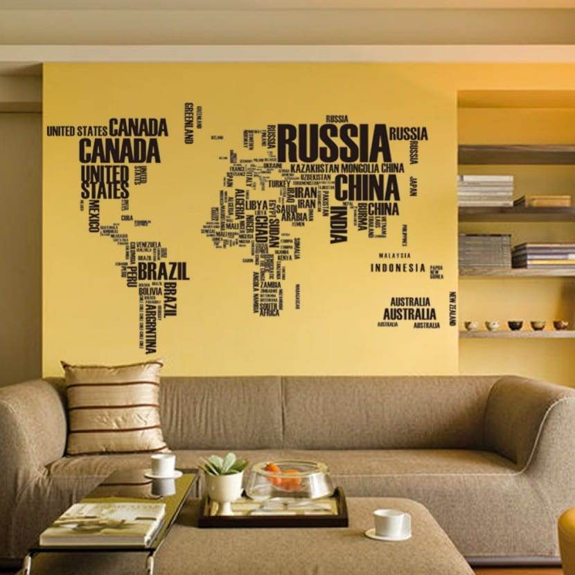 decoración paredes con mapas